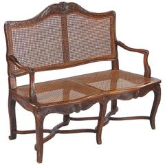 Louis XV Style Walnut and Caned Bench, Early 1900s
