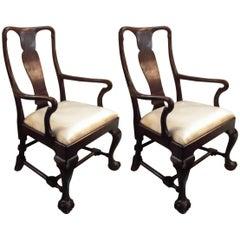 Pair of Antique Mahogany Armchairs