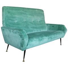 Mid-Century Modern Italian Aqua Velvet Sofa