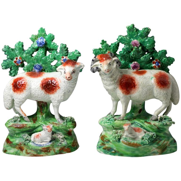 Pair of 19th Century Staffordshire Pottery figures of a Ewe and Ram Made by Salt