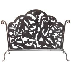 Early 20th Century Hand-Forged and Pierced Fire Screen
