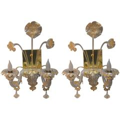 Pair of Murano Flower Sconces