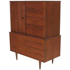 Mid-Century Modern Walnut High Chest Gentlemen's Chest