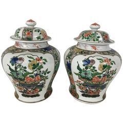 Pair of Samson Famille Verte Temple Jars