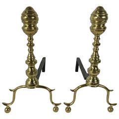 Pair of Brass Georgian Andirons