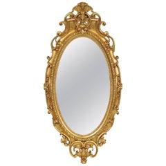 &2 inch Tall 19th Century American Victorian Rococo Oval Gilt Mirror
