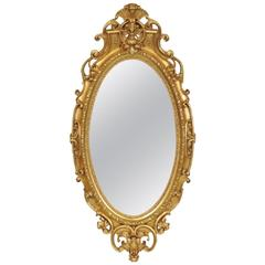 19th Century American Oval Gilt Mirror