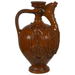Early 20th Century Earthenware Pitcher 'Brown with Relief Design'