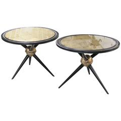 Pair of Ebonized and Gold Leaf Glass Top Side Tables