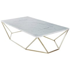 Dusk Coffee Table, Large in Honed White Marble and Brushed Brass