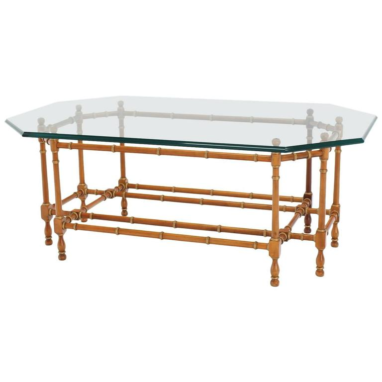 Faux Bamboo Base Glass Top Coffee Table At 1stdibs