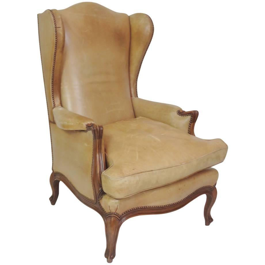 Louis xvi style leather wing chair for sale at 1stdibs for Leather wingback recliner sale
