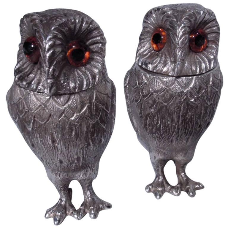 Pair of traditional english sterling silver owl salt and pepper shakers for sale at 1stdibs - Owl salt and pepper grinders ...