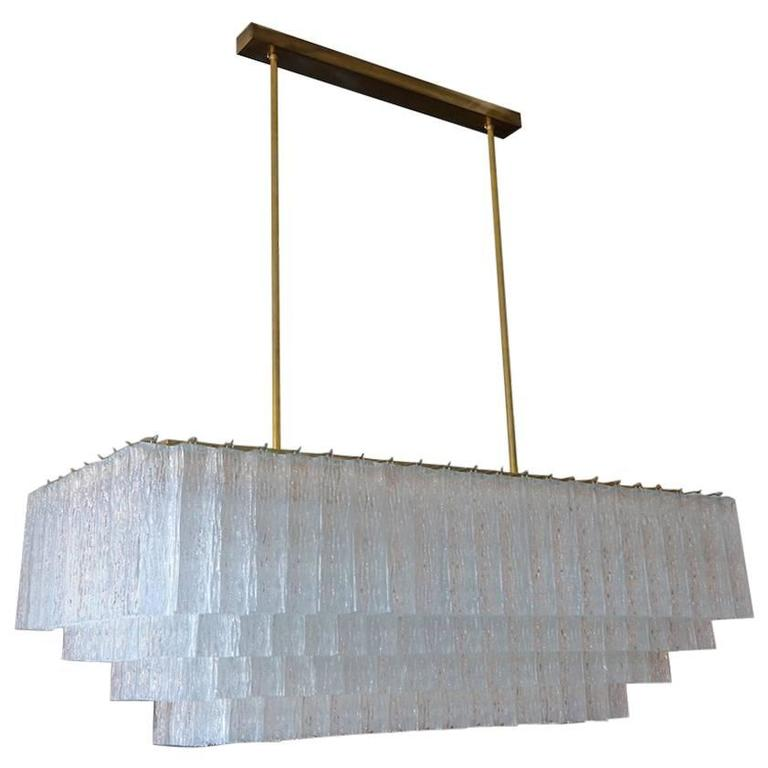 1960s Rectangular Murano Glass Vistosi Chandelier