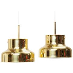 Pair of Bumling Pendants in Brass by Anders Pehrson for Ateljé Lyktan