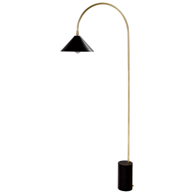 Bishop Task Floor Lamp with Brushed Brass, Blackened-Steel Shade, and Black Oak For Sale