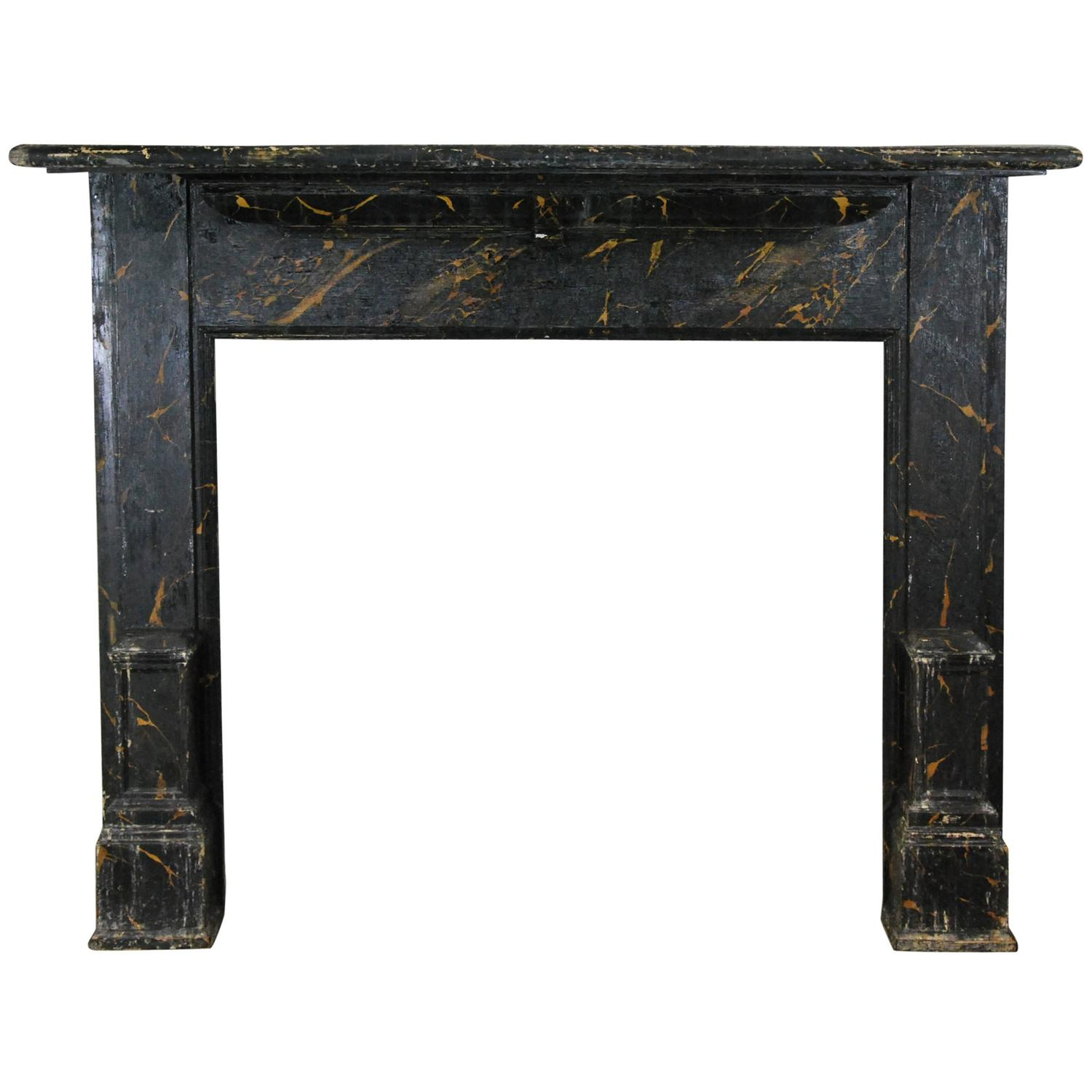 1890 faux marble american oak fireplace surround mantle at for Faux marble fireplace mantels
