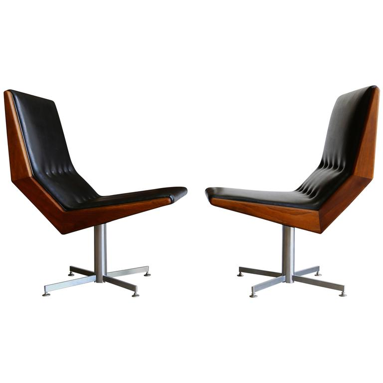 Pair of Modernist Walnut Framed Swivel Chairs