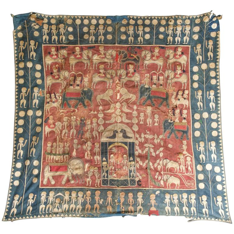 Indigo African Asian Bohemian Embroidery Tapestry Elephants Horses Kings