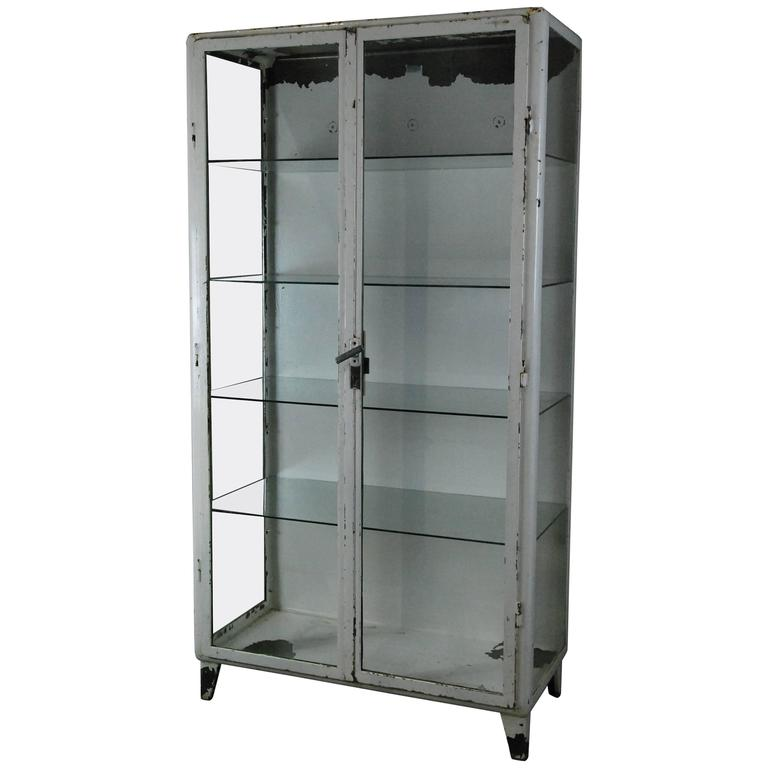 Superieur 1920 Metal Glass Display Cabinet For Sale