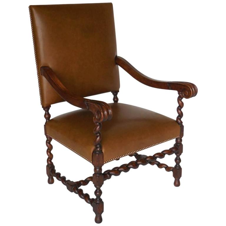 Dos Gallos Custom Walnut and Leather Spiral Twist Armchair with Scrolled Arms
