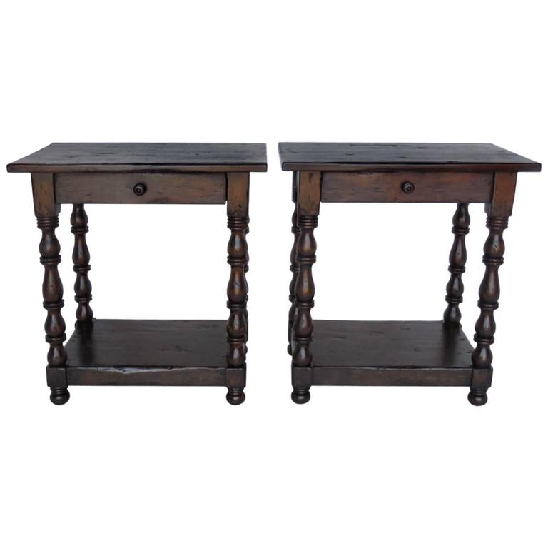 Dos Gallos Custom Side Tables/Nightstands With Turned Legs, Drawer And Shelv