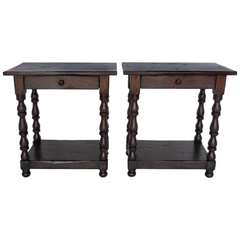 Dos Gallos Custom Side Tables/Nightstands with Turned Legs, Drawer and Shelv For Sale