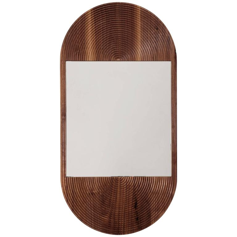 June Mirror, Large in Carved Walnut and Hand-cut Mirror