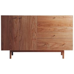 Rex Sideboard in Cherry-wood with Hand Spun Gold Pulls and Drop-down Mirror