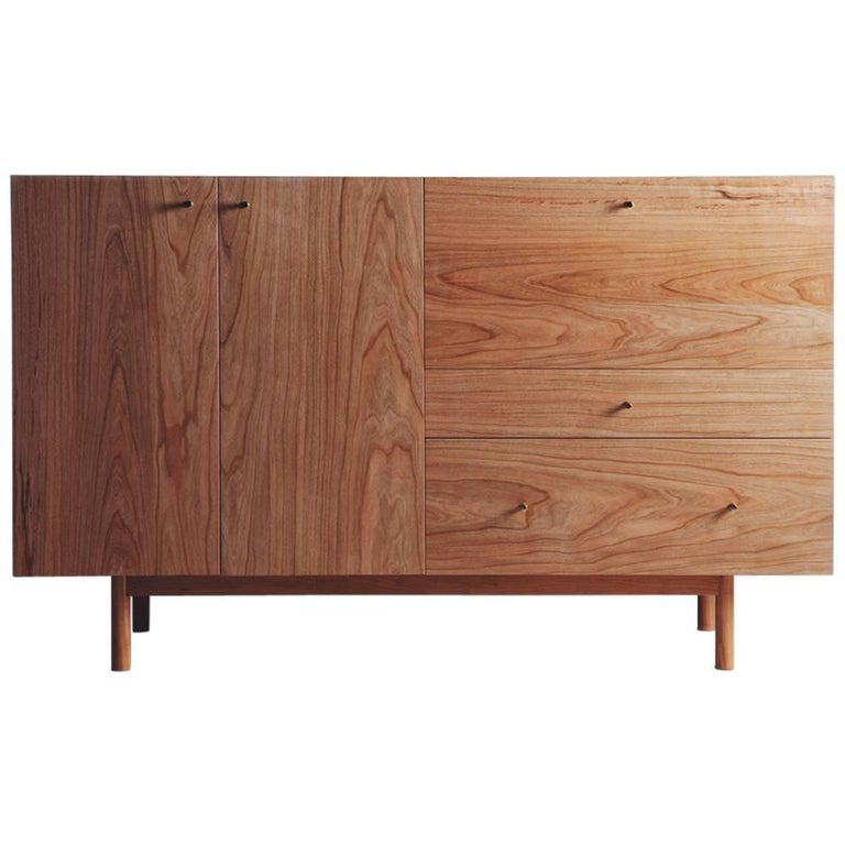 Rex Sideboard in Cherry-wood with Hand Spun Gold Pulls and Drop-down Mirror For Sale
