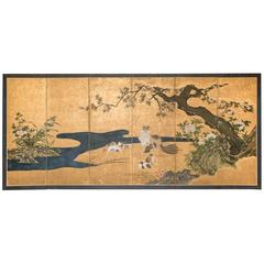"Japanese Six-Panel Screen ""Mother and Her Kittens"""