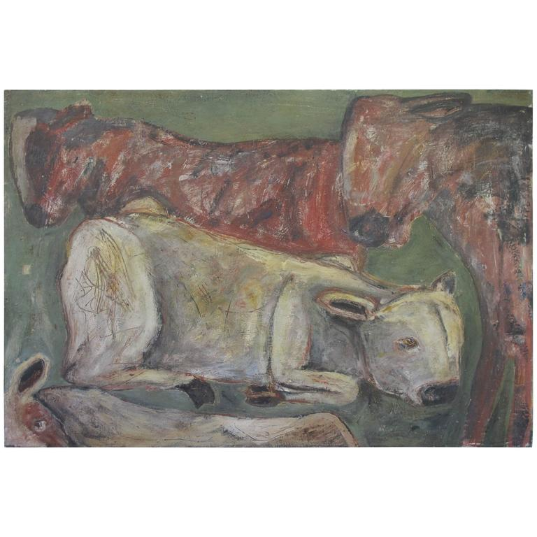 """""""Grazing"""" Painting of Cows by Terry Turrell"""