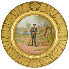 Antique Russian Imperial Porcelain Military Cabinet Plate with Imperial Guards