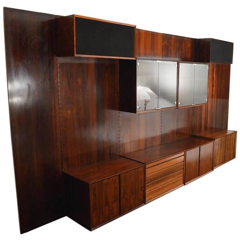 Danish Rosewood Wall Unit By Cadovius For Cado For Sale