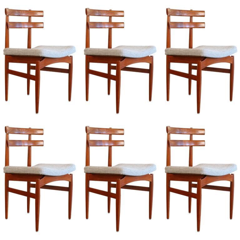 Set of six vintage danish teak dining chairs at 1stdibs - Scandinavian teak dining room furniture design ...
