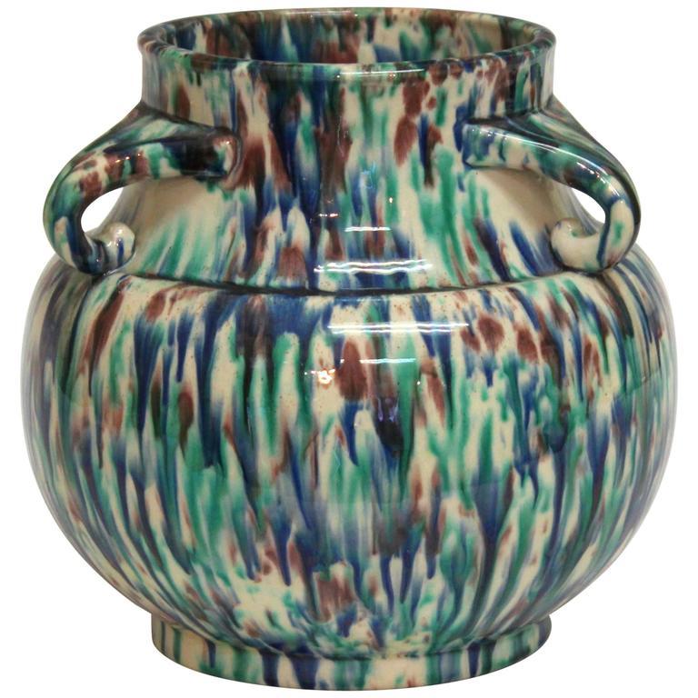 Vintage Awaji Pottery Art Deco Flambe Vase At 1stdibs