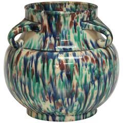 Vintage Awaji Pottery Art Deco Flambe Vase