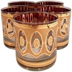 Set of Five 22-Karat Gold Double Old Fashion Glasses