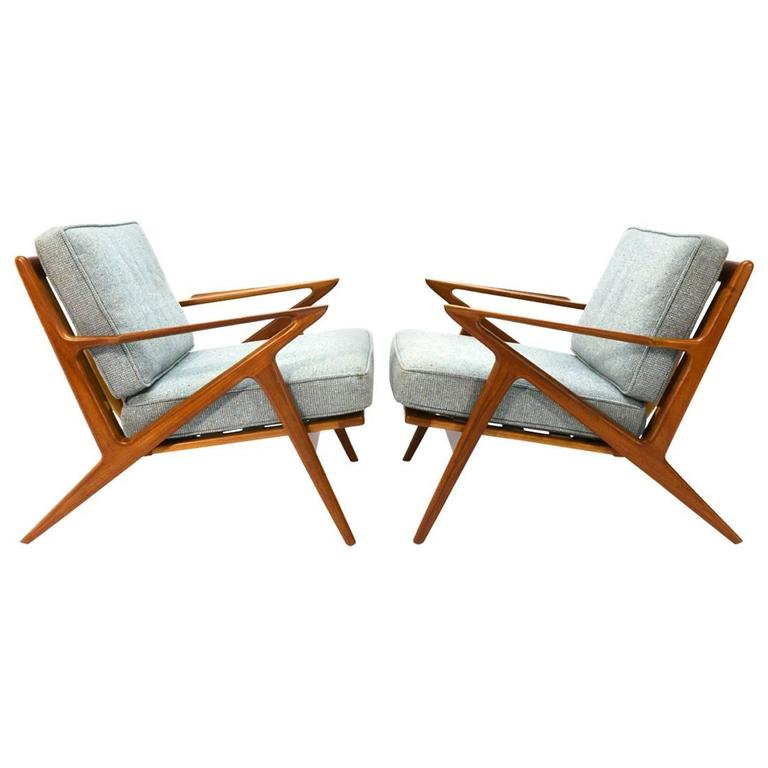 Pair of teak 39 z 39 lounge chairs by poul jensen for selig at for Poul jensen z chair