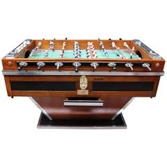 Mid-Century French Black and Light Wood Foosball Table