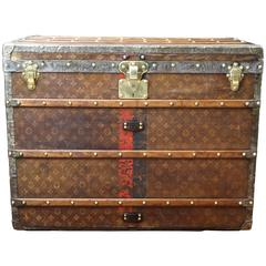 1890s Woven Canvas Louis Vuitton Tisse Monogram Steamer Trunk