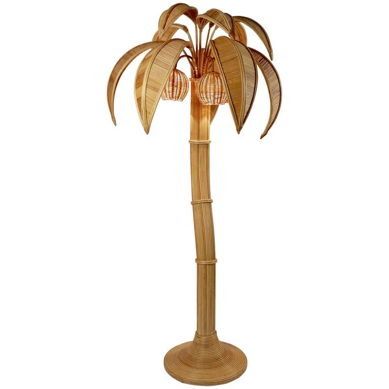 1970s Large Rattan Coconut Tree Floor Lamp 1