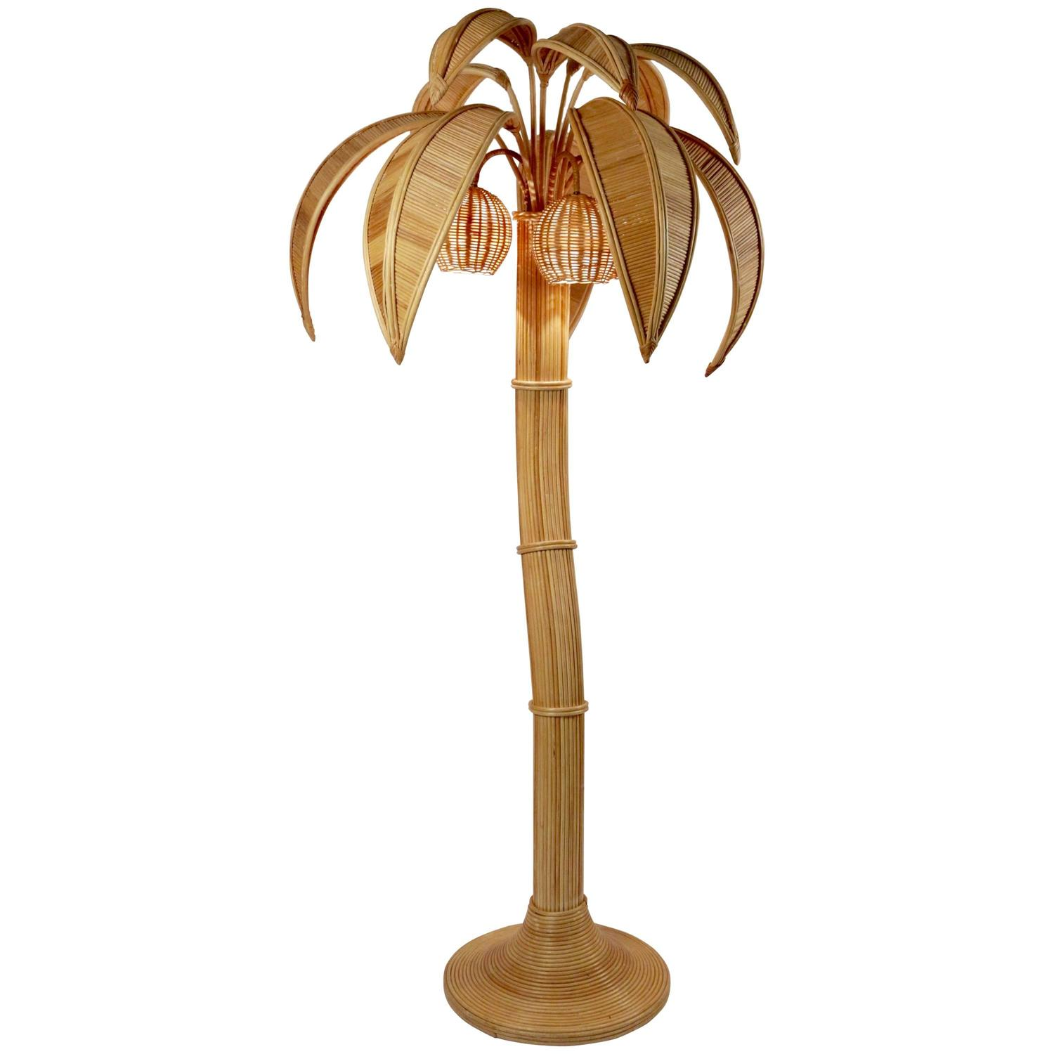 1970s large rattan coconut tree floor lamp at 1stdibs for 1970s floor lamps