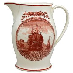 "Antique English Creamware Pottery Jug ""Spithead"" and ""Poor Jack"" Transfer Prints"