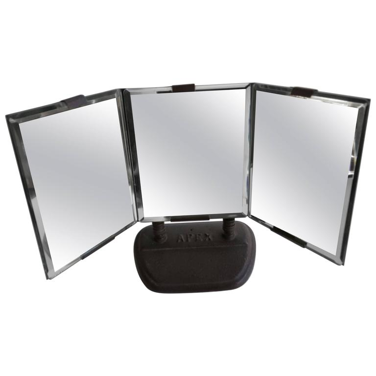 Industrial Art Deco Triple Beveled Mirrors by Apex