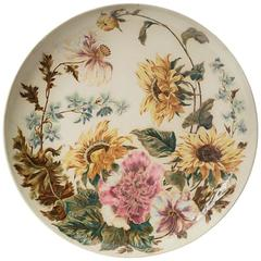 Choisy-le-Roi Manufactory, Large Plate Decorated with Flowers, circa 1880