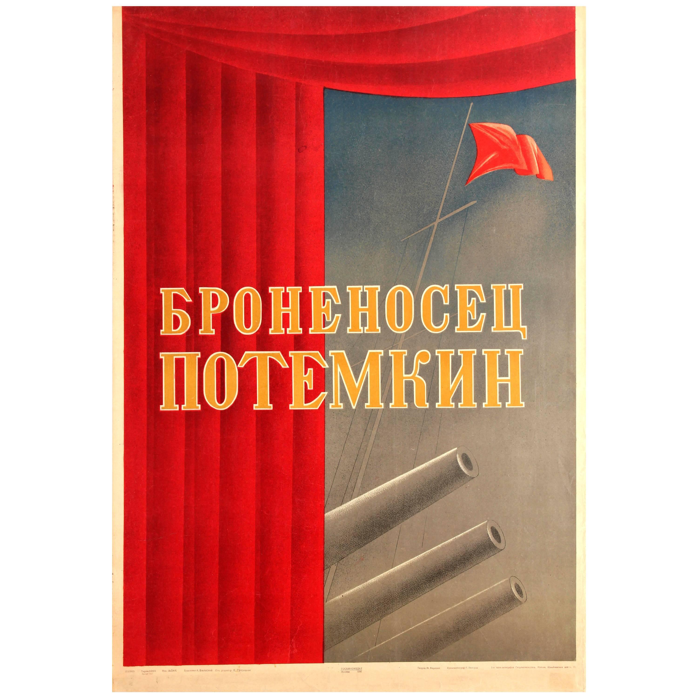 Rare Original Vintage Russian Movie Poster Eisenstein Film Battleship Potemkin