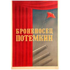 Rare Original Vintage Russian Movie Poster for Eisenstein's Battleship Potemkin