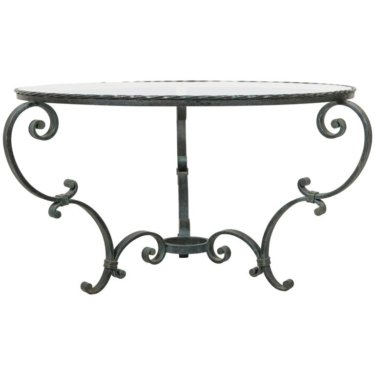 Antique French Hand Forged Round Iron Coffee Table With Verdi Gris Patina  For Sale