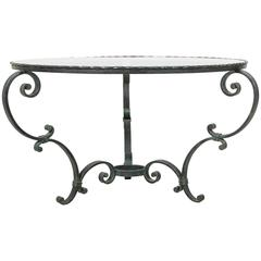 Antique French Hand-Forged Round Iron Coffee Table with Verdi Gris Patina